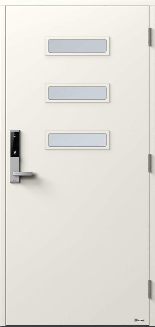 NorDan ytterdør Horisont Alta med NCS S0502Y farge og ID Lock Sølv