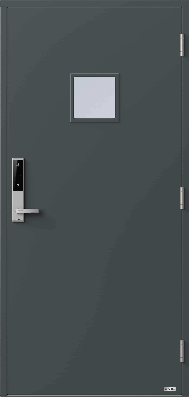 NorDan ytterdør Kvina med RAL7016 farge og ID Lock Sølv