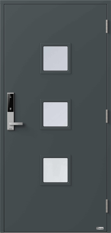 NorDan ytterdør Otra med RAL7016 farge og ID Lock Sølv