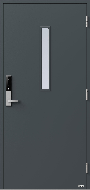 NorDan ytterdør Horisont Rena1 med RAL7016 farge og ID Lock Sølv