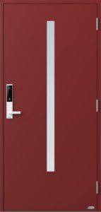NorDan ytterdør Bardu med RAL3011 farge og ID Lock hvit