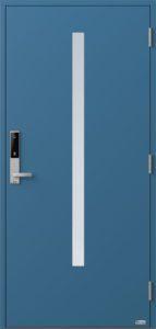 NorDan ytterdør Bardu med RAL5007 farge og ID Lock sølv