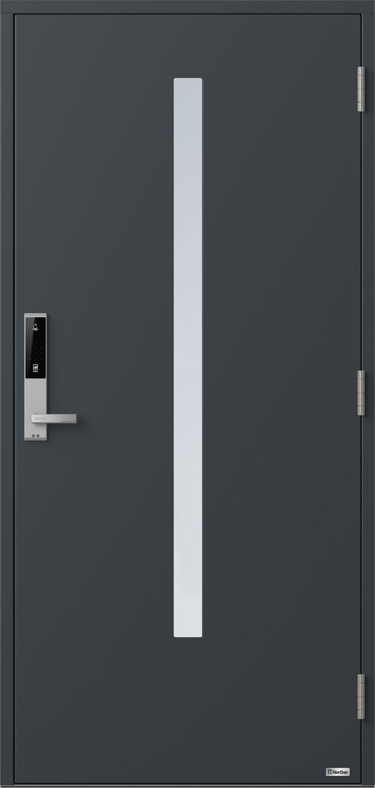 NorDan ytterdør Bardu med RAL7016 farge og ID Lock sølv