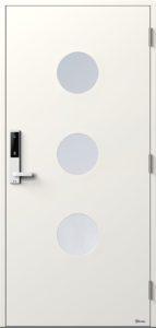 NorDan ytterdør Måna3 med NCS S0502Y farge og ID Lock hvit