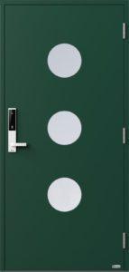 NorDan ytterdør Måna3 med RAL6005 farge og ID Lock hvit