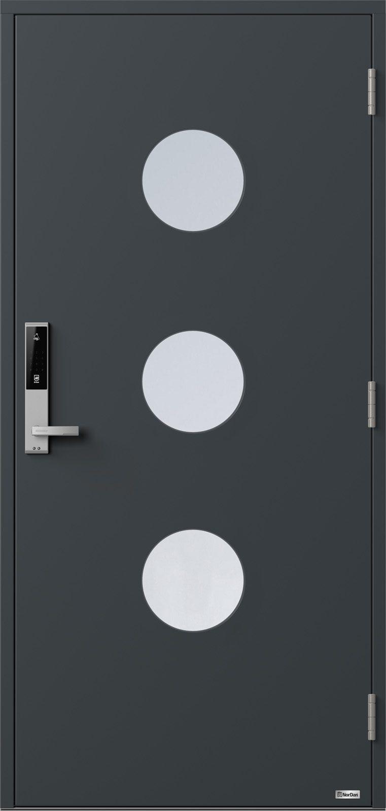 NorDan ytterdør Måna3 med RAL7016 farge og ID Lock sølv