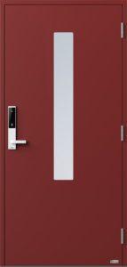 NorDan ytterdør Pasvik med RAL3011 farge og ID Lock hvit