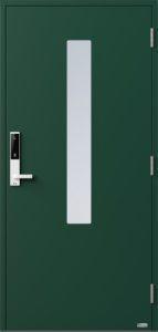NorDan ytterdør Pasvik med RAL6005 farge og ID Lock hvit