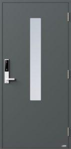 NorDan ytterdør Pasvik med RAL7012 farge og ID Lock hvit