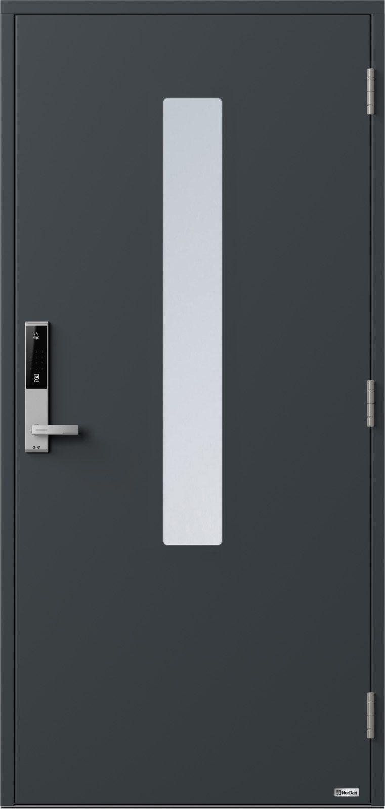 NorDan ytterdør Pasvik med RAL7016 farge og ID Lock sølv