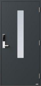 NorDan ytterdør Pasvik med RAL7016 farge og ID Lock hvit