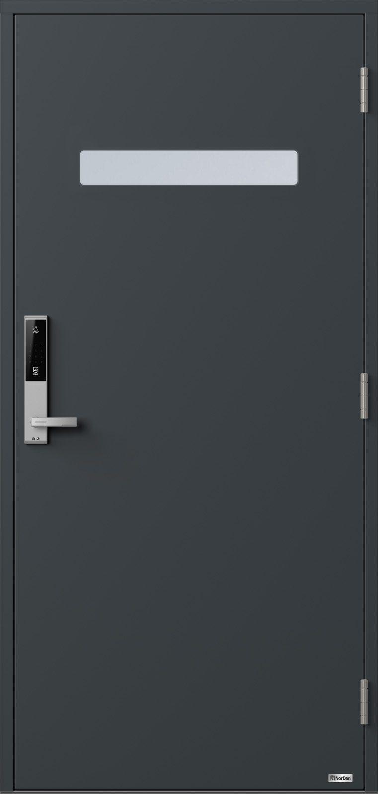 NorDan ytterdør Trysil med RAL7016 farge og ID Lock sølv