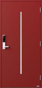 NorDan ytterdør Nea med RAL3011 farge og ID Lock hvit