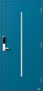 NorDan ytterdør Nea med RAL5007 farge og ID Lock hvit