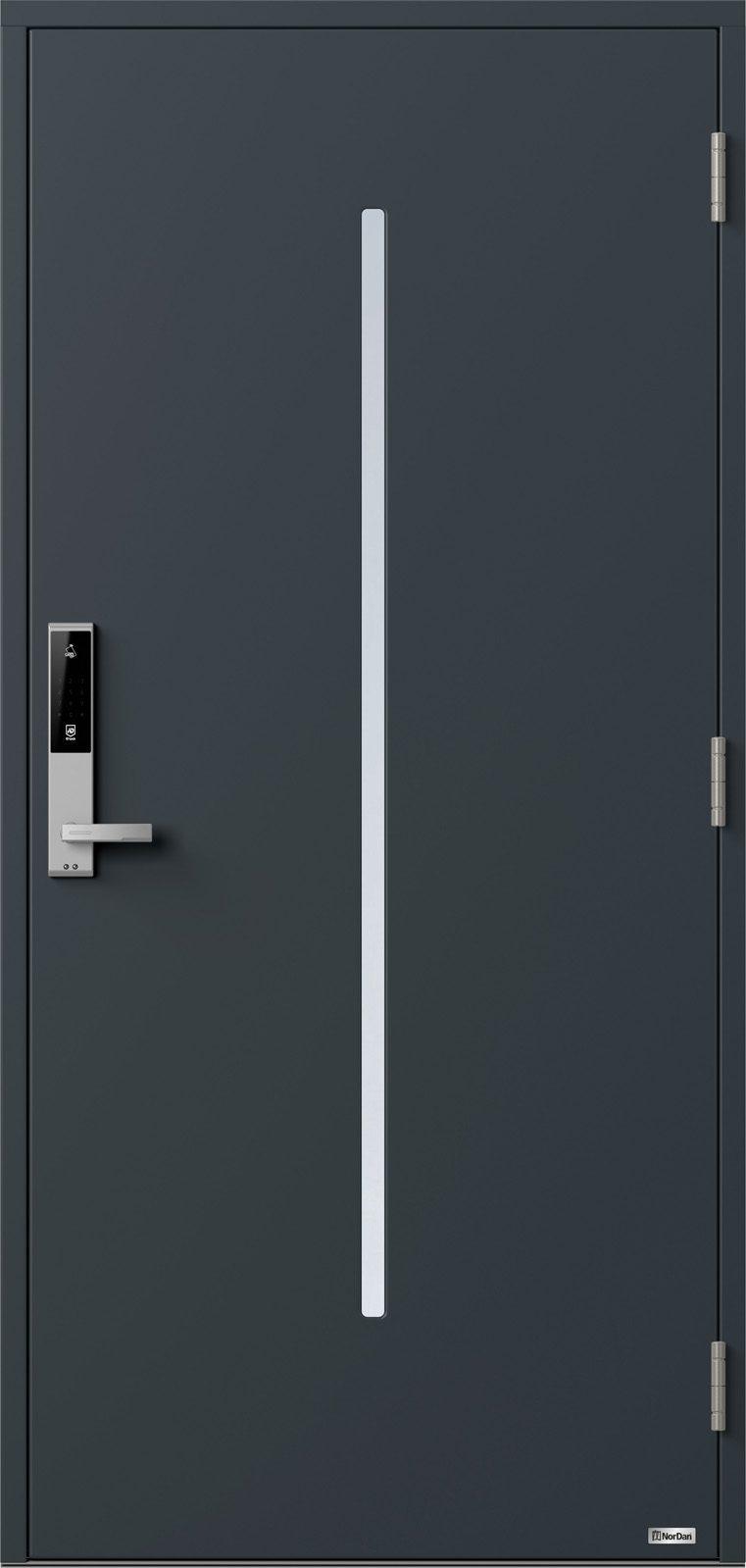 NorDan ytterdør Nea med RAL7016 farge og ID Lock sølv