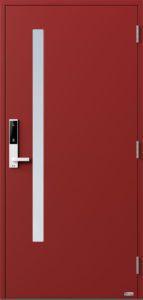 NorDan ytterdør Sira med RAL3011 farge og ID Lock hvit