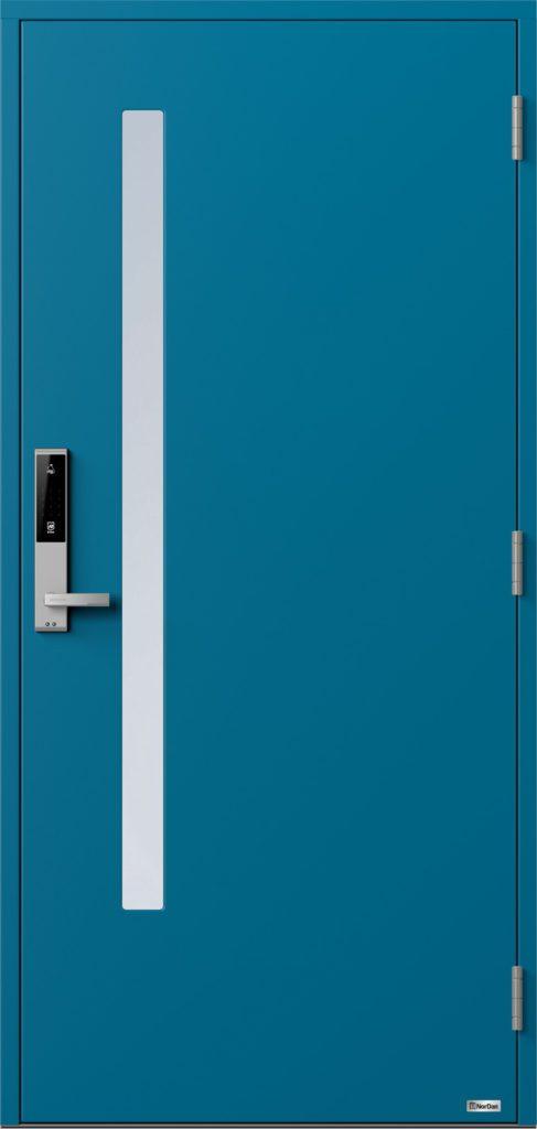 NorDan ytterdør Sira med RAL5007 farge og ID Lock sølv
