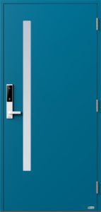 NorDan ytterdør Sira med RAL5007 farge og ID Lock hvit